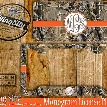 Orange Camo Monogram License Plate Frame Holder Metal Wall Sign Car Truck Front Tags Personalized Custom Vanity RealTree Camo