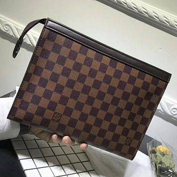 Louis Vuitton Woman Men Envelope Clutch Bag Leather File Bag Tote Handbag