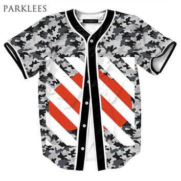 Striped Camouflage Baseball Jersey 3D Men/Women Brand Design Mens Button Baseball Shirt Homme Hip Hop Tops Tees Streetwear Men
