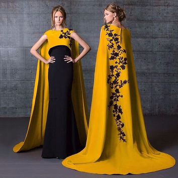 fashion black gold evening dresses with shawl 2017 appliques lace slim  womens pageant dress formal prom gown vestido