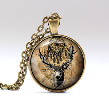 Deer jewelry Steampunk necklace Tribal pendant SNW18