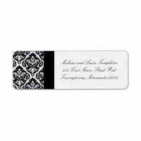 Black and White Damask Swirls Wedding Custom Return Address Label from Zazzle.com