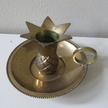 Vintage brass pineapple handcrafted made in India candle holder