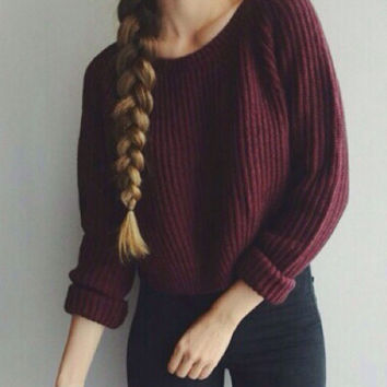 Autumn Winter Women's Pullovers Round Collar Long Sleeve Wine Red Knitted Sweater