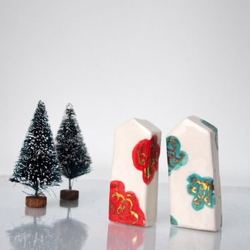 Modern Art ceramics little clay houses, Red, Torquise roses with Gold Miniature House  Glossy glaze Ceramic, house warming present