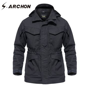Trendy S.ARCHON Autumn Winter Waterproof Tactical Field Jacket Men Hooded Windbreaker Army Pilot Jacket Clothes Military Coat Outerwear AT_94_13