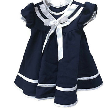 Vintage Baby Sailor Dress, Navy Blue Infant Dress, Vintage Girls Nautical Dress Baby Vintage Dress, Sailor Style Vintage Baby Girls Clothing