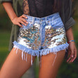 Grunge Hipster clothing High waisted denim shorts sequin shorts by Jeansonly