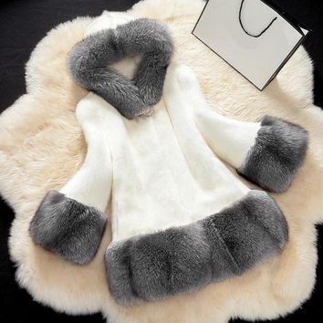 Faux Mink Fur Trim Hooded Coat