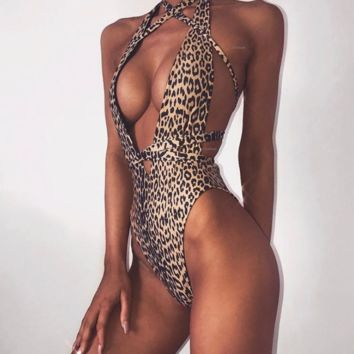 Summer New fashion leopard print sexy bandage straps one piece bikini swimsuit