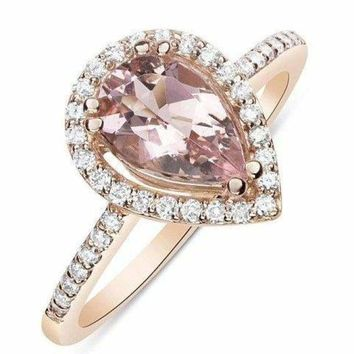 Luxinelle - 1 Carat Rose Gold Pear Cut Morganite Ring with Diamond Halo  by Luxinelle® Jewelry