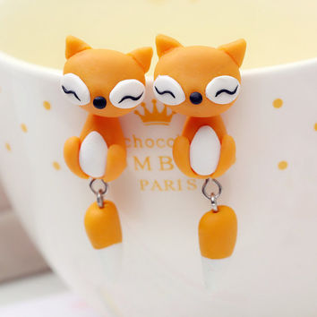 drop earring 925 silver pin cute fox polymer clay earrings for women fashion jewelry Free Ship x 1Pair