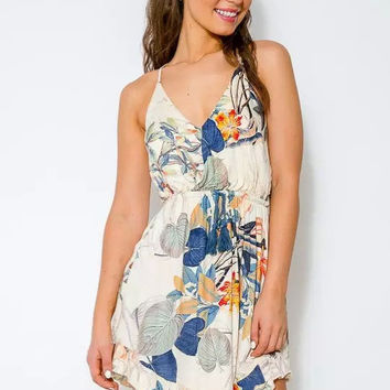 White Floral Printed Strappy Sleeveless Dress
