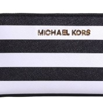 MICHAEL Michael Kors Women's Zip Around Phone Case, Black/White, One Size