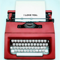 Typewriter Love - Red - Vintage Red Mid Century Modern Romantic Sweet Message Type - 8x10 Original Photograph