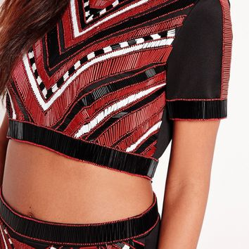 Missguided - Chevron Beaded Crop Top Black