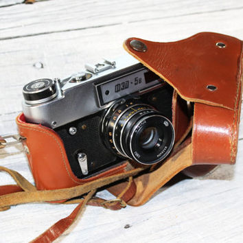 Vintage working Photo Camera Fed 5V, 35mm film viewfinder Camera Vintage Russian camera Soviet 1970s, Old photography