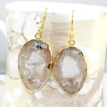 H3660 Offer Sale Natural Brazilian Geode Slice Druzy Gold Plated Earring Jewelry