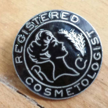 Vintage New Old Stock Registered Cosmetologist Metal and Enamel Pin made by Wright Hairdresser Stylist