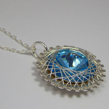 Sterling Silver Wire Wrapped Rivoli Pendant. Rivoli Pendant. Wire Wrapped Pendant. Wire Wrapped Necklace