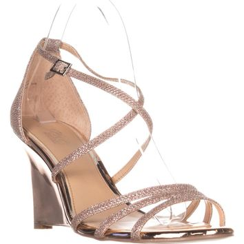 Jewel Badgley Mischka Hunt Strappy Wedge Sandals, Ros Gold Glitter, 8 US
