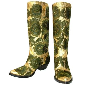New GIANNI BARBATO Western Bullhide Leather Embroidered Boots Hand-Made It 37- 7