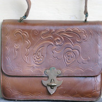 Vintage hand carved leather bag - For Ladies - Brown hand tooled bag- Made in USSR