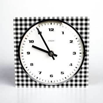 Checkered / Gingham Vintage Wall Clock, Black and White by Kienzle, 70's Germany