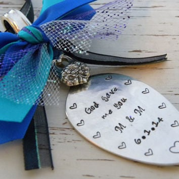 Ornament spoon - God gave me you - silver plated - vintage - antique - peacock colors -hearts - tulle - you can choose colors - wedding gift