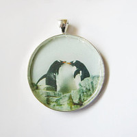 Large Round Silver Toned Penguin Kiss Art Photo Pendant