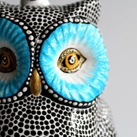 Owl Lamp Hand Painted Owl Lamp one of a kind hand painted owl lamp colorful owl Woodland creatures