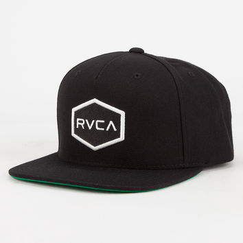 Rvca Commonwealth Mens Snapback Hat Black/White One Size For Men 26629512501