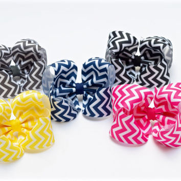 Chevron Hair Bows, Hair Bows, Toddler Hair Bows, Hair Bows for Girls, 4 inch Hair Bows, Big Baby Bows, Hairbows, 400