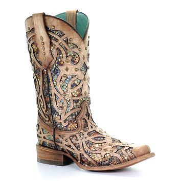 Corral Bone/Multicolor Inlay & Studs Square Toe Boots