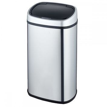 New 18-Gallon Touch-Free Sensor Automatic Stainless-Steel Trash Can Kitchen 68R