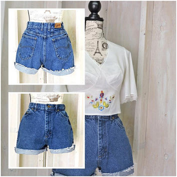 "Vintage high waisted denim shorts / 80s Lee Riders / made in USA / high waist / cutoffs / frayed / dark wash / 27"" waist size 5 / 6"