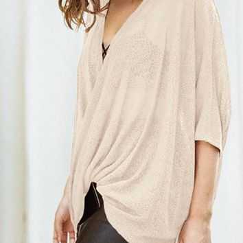 Apricot Plain Draped V-neck Elbow Sleeve Fashion T-Shirt