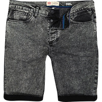River Island MensBlack acid wash skinny stretch shorts