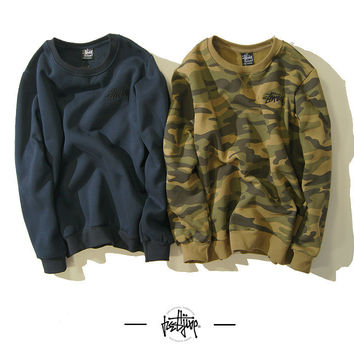Stussy Winter Unisex Camouflage Round-neck Long Sleeve Sports Sweatshirt [9506643463]