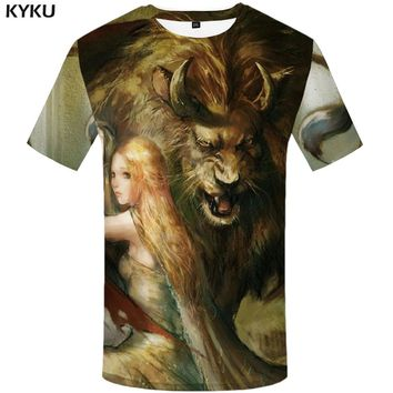 KYKU Brand Lion T shirt Mens Beauty Hip hop Streetwear Anime Graphic Tee Funny Japan Style T-shirts Punk Rock
