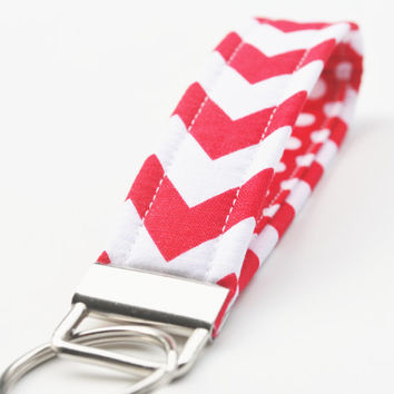 Chevron Key Chain, Fabric Key Fob, Key Strap -  Red and White