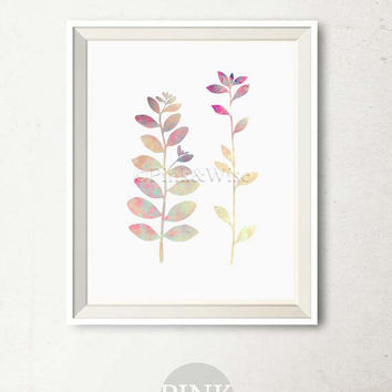 Leaves Watercolor Printable Wall Art Print, Leaves art print, Leaf branch art Leaves digital print Bedroom decor Bathroom wall art Printable