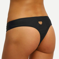 Black Heart Cutout Low-Rise Bikini Bottom