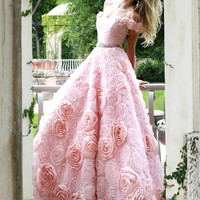Off The Shoulder With Rosettes Sherri Hill Ball Gown Dress 21361