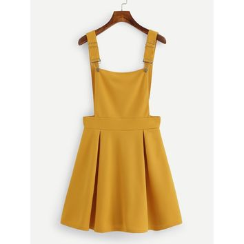 Pleated Zip Up Back Pinafore Dress Mustard