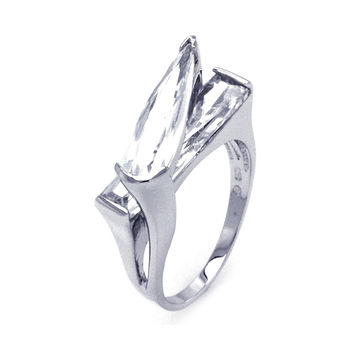 925 Sterling Silver Ladies Jewelry Criss Cross Clear Cubic Zirconia Ring: Size: 5