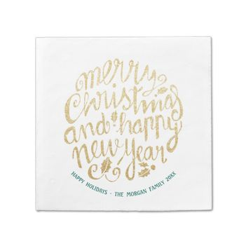 Gold & White Christmas Happy New Year Script Paper Napkin