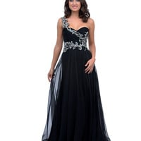 Black Jewel Encrusted Chiffon One Shoulder Long Dress Prom 2015