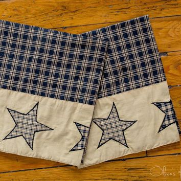 Colonial Country Primitive Rustic Jamestown Black and Tan Star Pillow Cases