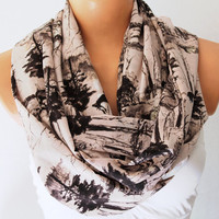 Infinity Scarf Loop Scarf Circle Scarf Cowl Scarf Soft and Lightweight Deer in the forest